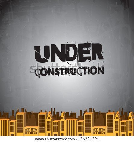 Under construction background with building vector illustration - stock vector