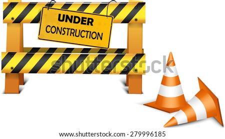 Under construction barrier over white background. Vector illustration - stock vector