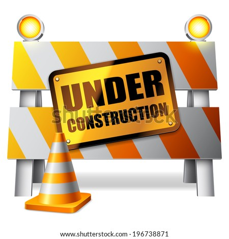 Under construction barrier, warning sign and traffic cone. - stock vector