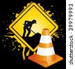 Under construction board and traffic cone on black background. Vector illustration. - stock vector