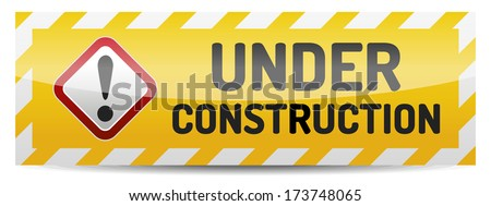 Under construction board with reflection and shadow on white background. - stock vector