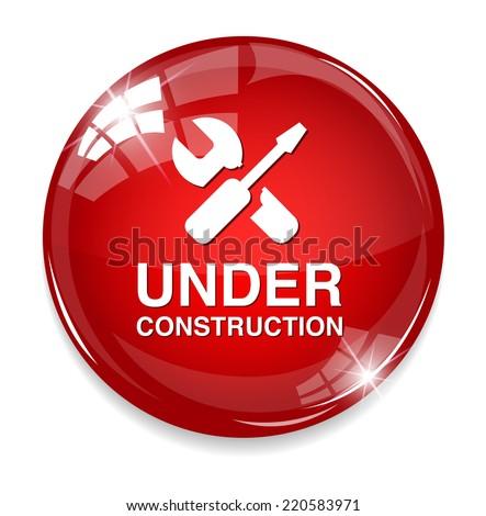 under construction button - stock vector
