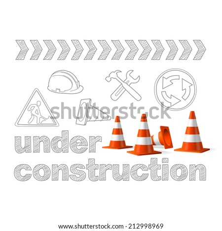 Under construction concept, sketched drawing with traffic cones vector - stock vector