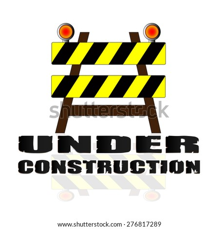 Under construction concept. under construction road sign, Barrier isolated on white background