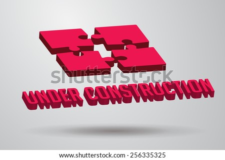 Under construction 3d sign with puzzle pieces floating in air - stock vector