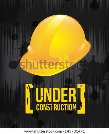under construction design over black background vector illustration - stock vector