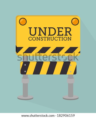 Under construction design over blue background, vector illustration