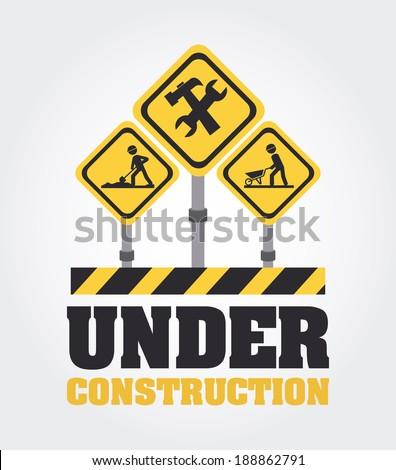 Under construction design over gray background, vector illustration - stock vector