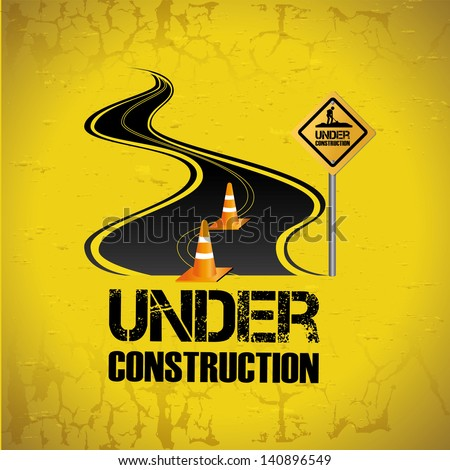 under construction design over yellow background vector illustration - stock vector