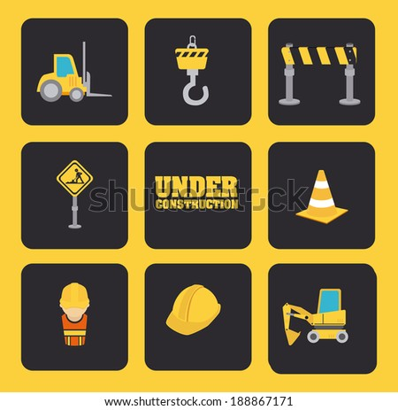 Under construction design over yellow background, vector illustration - stock vector