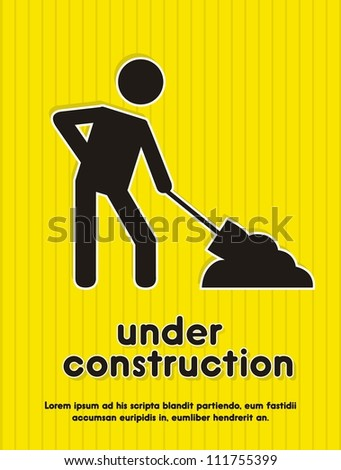 under construction icon over yellow background. vector illustration - stock vector