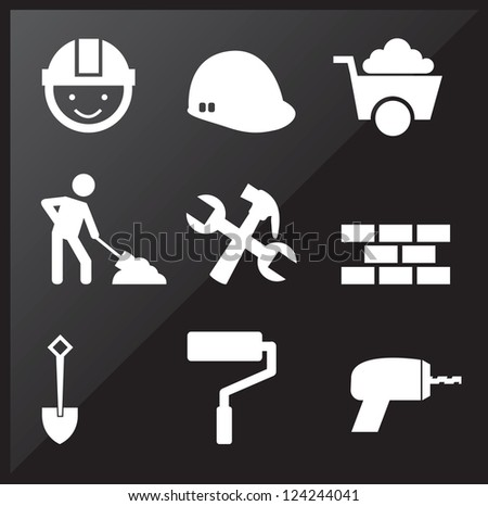 under construction icons over black background - stock vector