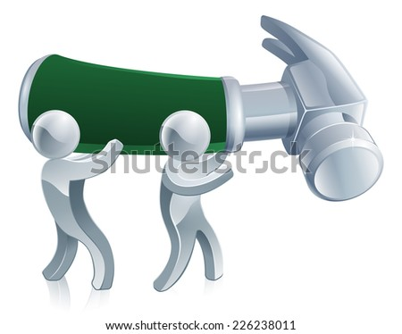 Under construction men illustration of two figures holding a giant hammer - stock vector