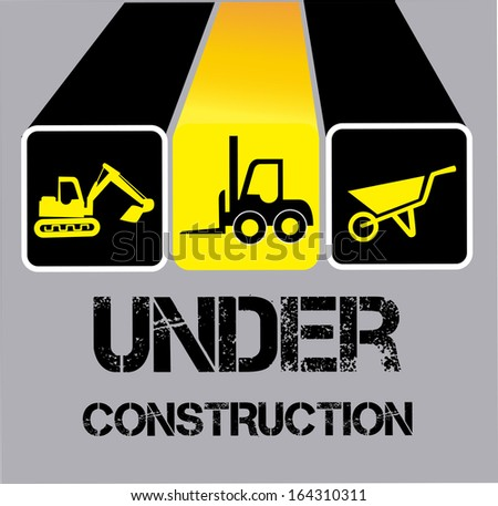 under construction over gray background vector illustration  - stock vector