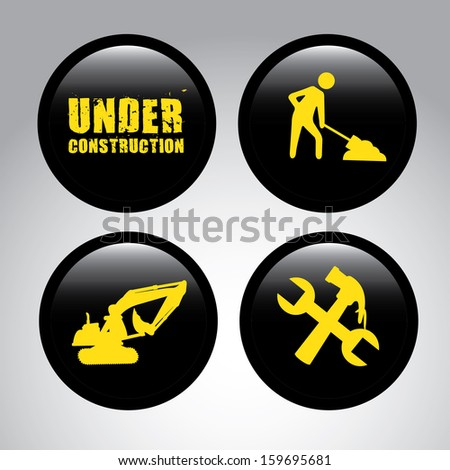 under construction  over gray cream background  vector illustration - stock vector