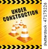 Under construction page with traffic cones. Vector background. - stock vector