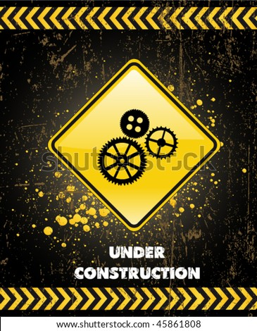 under construction poster - stock vector