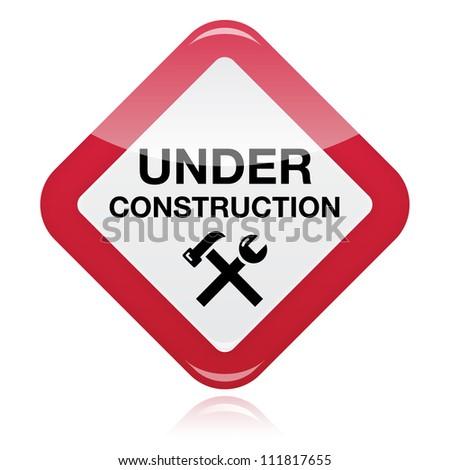 Under construction red warning sign - stock vector