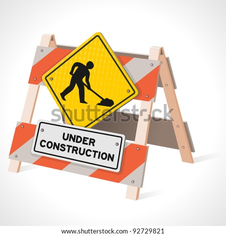 Under Construction Road Sign - stock vector