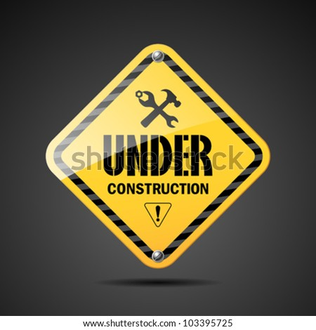 Under construction sign black and yellow on black background, vector illustration - stock vector