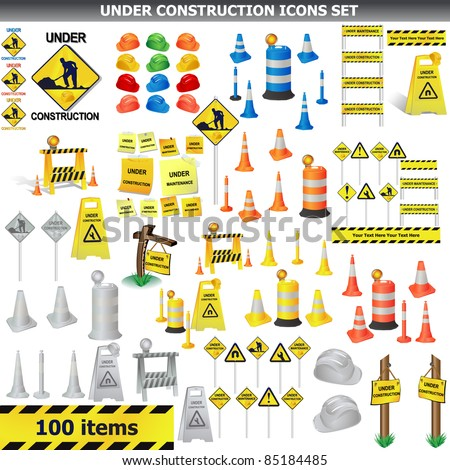 Under Construction Sign Collection. Around 100 object, icon isolated on white VECTOR