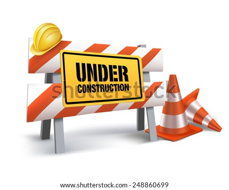 Under Construction Sign in White Background. 3D Mesh Vector illustration