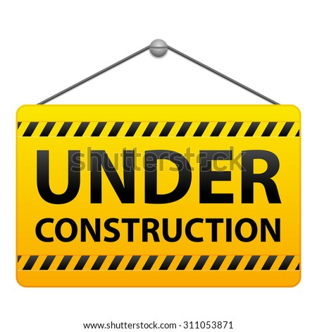 Under construction sign on a white background.