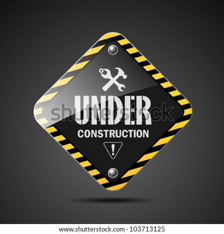 Under construction sign on black background, vector illustration - stock vector