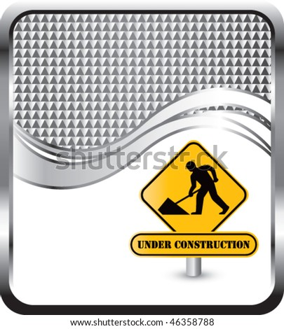 under construction sign silver checkered wave