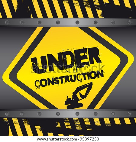 under construction sign with frames background. vector