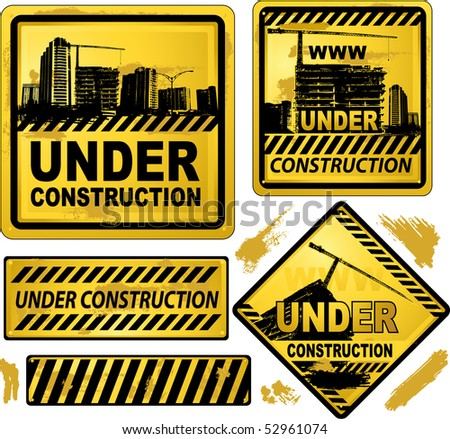 Under construction signs - stock vector