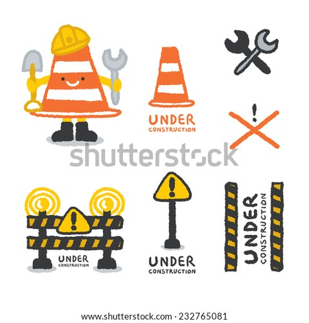 Under construction signs set in cartoon style, freehand drawing vector Illustration - stock vector