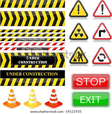 Under construction signs. Vector Illustration. EPS10 - stock vector