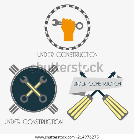 under construction site labels set vector - stock vector