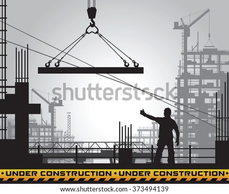 Under construction site silhouette.