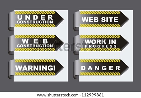 under construction tags over gray background. vector illustration - stock vector
