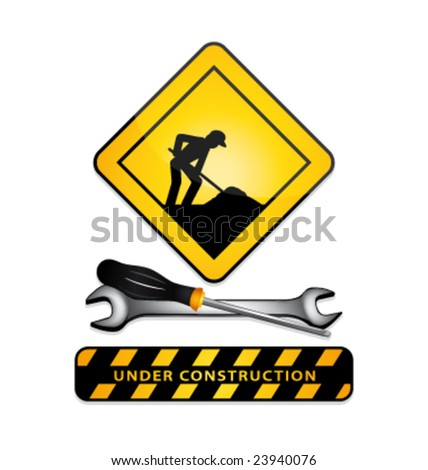 Under construction vector signs