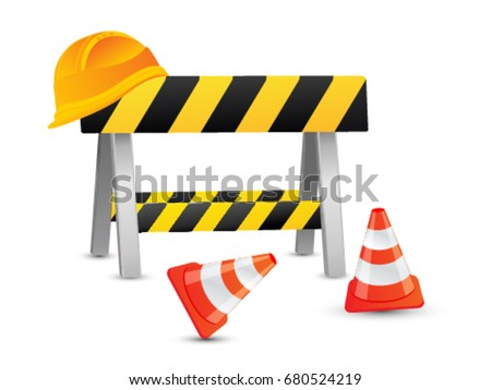 Under construction web page banner concept with traffic cone