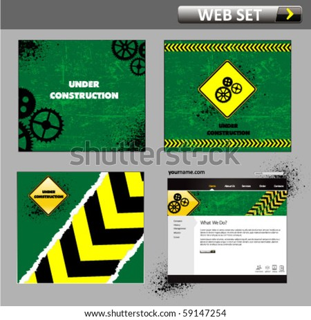 under construction web site template - vector illustration - stock vector
