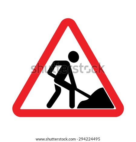 under construction website and road sign vector