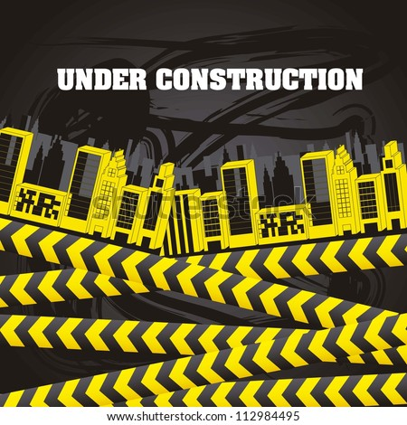 under construction with buildings and yellow tapes. vector illustration