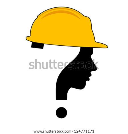 under construction with question mark human head symbol, vector - stock vector