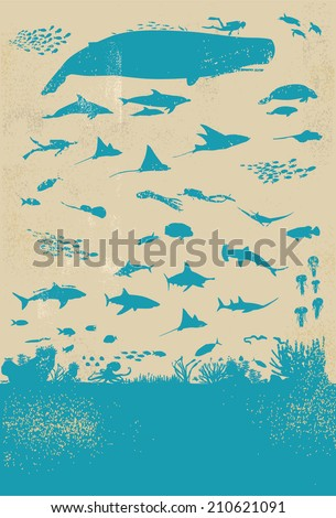 Under Sea Life Silhouette - stock vector
