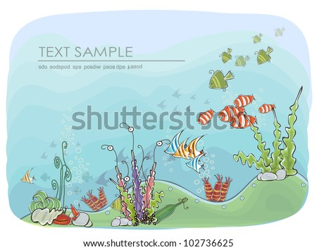 Under the sea background - stock vector