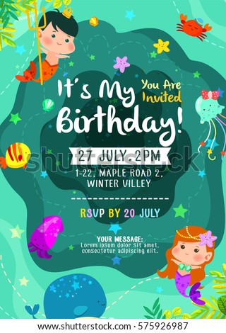 Under sea cute birthday birthday invitation em vetor stock 575926987 under the sea cute birthday birthday invitation card with mermaid merman and friends stopboris Image collections