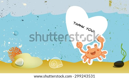 Under the sea, underwater, marine life. Vector cartoon thank you card illustration. - stock vector