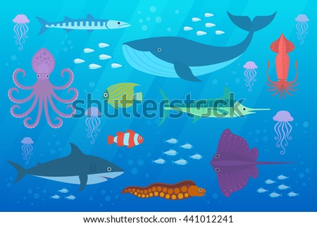 Under the sea vector background with marine fish and animals. Vector Set of Sea Creatures. - stock vector