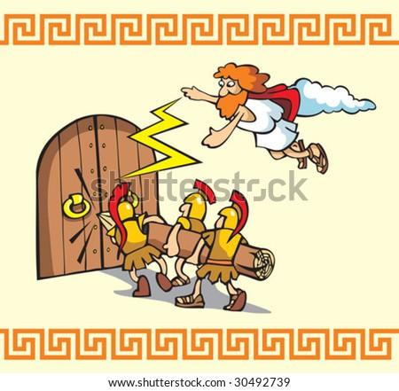 Under the siege, scene from Trojan war, Greek warriors breaking the gates, one of the Gods helps them, cartoon vector illustration - stock vector