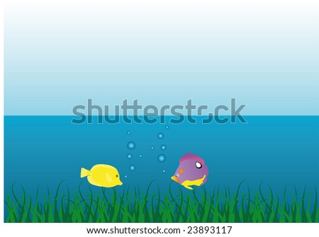 Under water scene - stock vector