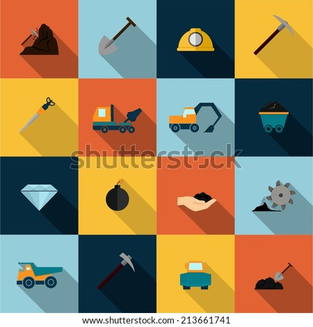 Underground mining mineral industry flat icons set isolated vector illustration - stock vector